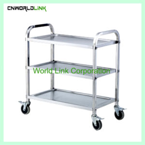 Stainless steel three-tier dining cart WL-079B